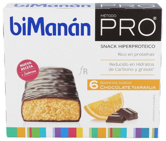 Bimanán Pro Barritas de Chocolate Naranja 6 Und.