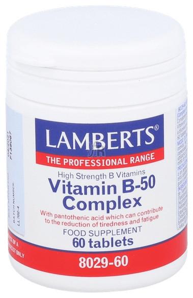 Vitamin B-50 Complex 60 Tabletas Lamberts