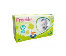 Bebe Cash Freelife Pañales Talla 3 54 Unid - Farmacia Ribera