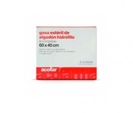 Gasa Esteril Algodon Hidrofilocompresas Acofar 60 X40 6 U - Farmacia Ribera