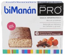 Bimanan Pro Barritas Chocolate Praline 6 Uds