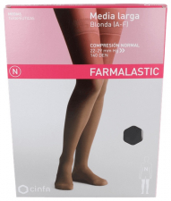 Farmalastic Media Larga Blonda (A-F) Compresión Normal Talla Reina Negro - Farmacia Ribera