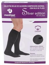Medilast Calcetin Negro C Normal Con Algodon Silver Edition L - Farmacia Ribera