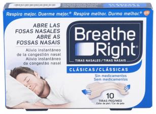 Tiras Nasales Breathe Right 10 Unidades Pequeñas