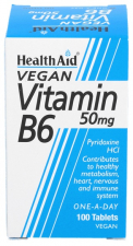 Vitamina B6 (Piridoxina clorhidrato) 50 mg 100 Comprimidos - Health Aid